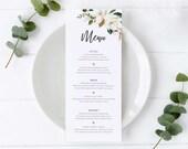 Magnolia Menu Template, Botanical Flowers, Editable Menu, Wedding Menu, Birthday, Christening, Baptism, Dinner menu, modern menu, Chantelle
