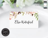 Editable Place Card Template, Floral Watercolor, Wedding Place Cards, Tent Card, Name Card, Table Card, Place Card, Calligraphy, Elsie