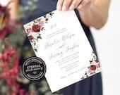 Editable Wedding Invitation, Wedding Invitation template, Wedding Invitation Printable, Invitation, Editable, Watercolour Roses, Rosalie