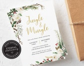 Editable Floral Christmas Party Invitation Template, Jingle and Mingle Christmas Invitation Printable, Editable, Instant Download, 013