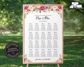 Floral Seating Chart Template, editable wedding seating chart, Poster, Printable Seating Sign, guest seating chart, watercolour, Elsie