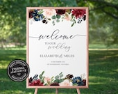 Floral Welcome Sign Template with Eucalyptus, Printable Welcome Sign, Wedding Welcome Sign Template, Custom Wedding Sign, Elizabeth