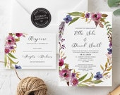Floral Wedding Invitation, Wedding Invitation template, Invitation Printable, Invitation, Editable Invitation, Corjl, watercolor, boho, Ella