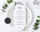 Botanical Eucalyptus Menu Template, Watercolor menu, Editable Menu, Wedding Menu, Birthday, Christening, Baptism, Dinner menu, Scarlett
