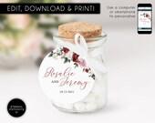 Editable Round Favour Tag template, bonbonniere tags, wedding favour tag, gift tags, wedding thank you, watercolor flowers, floral, Rosalie