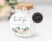 Editable Round Favour Tag template, bridal shower thank you tag, wedding favour tag, gift tags, thank you, watercolor flowers, Stephanie