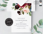 Navy and Burgundy Floral Save the Date Card, Wedding Invitation template, Printable, Invitation, Floral Watercolor, botanical, Elizabeth