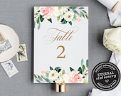 Table Number Template, Blush Floral Table Number, Wedding Table Numbers Template, Table Number wedding, Calligraphic table number, Caroline