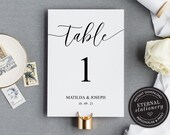 Table Number Template, Table Card template, Wedding Table Numbers Template, Table Number wedding, Modern Calligraphic table number, 001