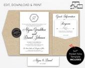 Pocket Wedding Invitation Suite, Rustic, Wreath, Kraft, Wedding Invitation template, Printable, Editable, pocketfold, pocket folio, Alyssa