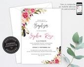 Floral Christening/Baptism Invitation Girl, Baptism, Christening, Editable Template, Printable, Invitation, Baby Girl, watercolour, Abella
