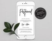 Postpone Wedding Card Template, Electronic Postponed Invitation template, Change of Plans, Cancelled Wedding Card, Wedding Date Change, Enja