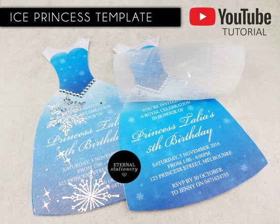 Diy Ice Princess Dress Party Invitation Template Princess Birthday Party Invitation Editable Template Microsoft Word Printable Frozen