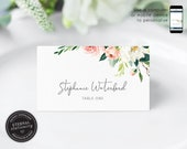 Soft Floral and Eucalyptus Watercolor Place Card Template, botanical, Wedding Place Cards, Name Card, Table, Floral, Flowers, Stephanie