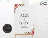 Wedding Welcome Sign, Welcome sign, Wedding Welcome Sign Template, Custom Wedding Sign, Printable Welcome Sign, watercolour, Abella