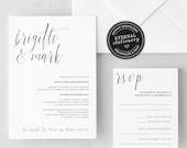 Modern Wedding Invitation Template, Minimalistic Wedding Invitation, Calligraphy Wedding Invitation, geometric, gold foil, Brigitte