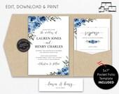 Pocket Wedding Invitation Suite, Blue Floral, Watercolor, Wedding Invitation template, pocketfold, pocket folio, navy, blue roses, Lauren