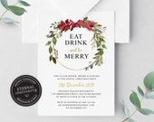 Eat, drink and be merry Editable Christmas Invitation template, Christmas Party Invitation Template, Download, Holiday Invitation, 003