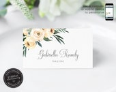 Botanical Watercolor Flowers Place Card Template, greenery, Wedding Place Cards, Name Card, Floral, Flowers, gold foil, Gabriella