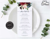 Elegant Navy and Burgundy Floral Menu Template, Watercolour, Editable Menu, Wedding Menu, Birthday, Christening, Baptism, Dinner, Elizabeth