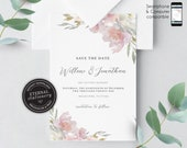 Blush pink grey Floral Save the Date Card, Wedding Invitation template, Printable, Invitation, Floral Watercolor, pastel flowers, Willow
