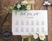 Modern Minimalist Seating Chart Template, editable wedding seating chart, Poster Sizes, Printable Seating Sign, guest seating chart, Beverly