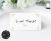 Editable Place Card Template, Wedding Place Cards, Tent Card, Name Card, Table Card, Place Card, Engagement, Birthday, Elegant, Hannah