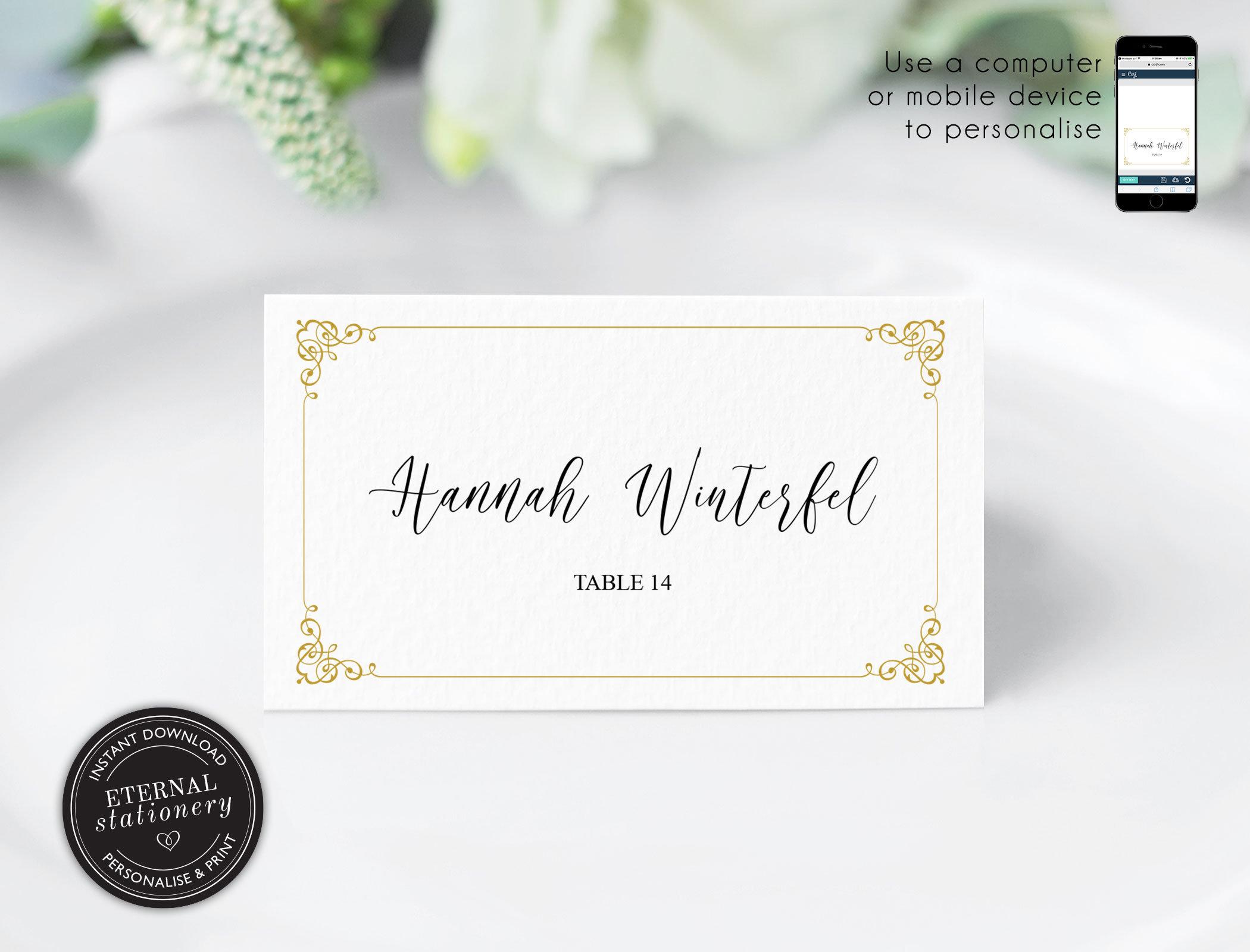 Editable Place Card Template, Wedding Place Cards, Tent Card, Name Card,  Table Card, Place Card, Engagement, Birthday, Elegant, Hannah Regarding Microsoft Word Place Card Template