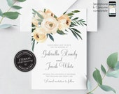Greenery, Ivory Rose Save the Date Card, Wedding Invitation template, Printable, Invitation, Floral Watercolor, botanical, leafy, Gabriella