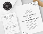Elegant Calligraphy Wedding Invitation, Wedding Invitation template, Wedding Invitation Printable, Editable Invitation, DIY, Rebecca