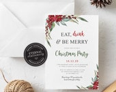 Editable Eat, drink and be merry Christmas party Invitation Template, Christmas Printable, Instant Download, Holiday Invitation, 006