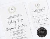 Monogram Wedding Invitation, Wedding Invitation template, Wedding Invitation Printable, Invitation, Editable Invitation, wreath, Ashley