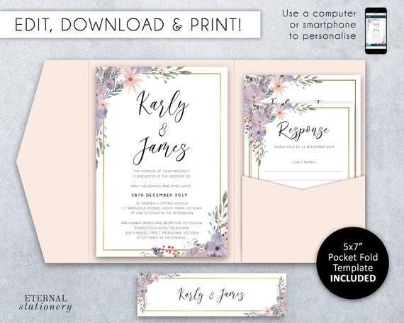 Pocket Wedding Invitation Suite Floral Watercolour Template Printable Editable Pocketfold Folio Karly