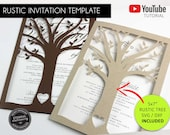 Rustic Wedding Invitation Template Combo, Microsoft Word Wedding Invitation Template with Tree SVG / DXF cutting file template, botanical