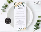 Modern Floral Menu Template, Watercolour floral, roses, eucalyptus, Editable Menu, Wedding Menu, Birthday, Christening, Baptism, Gabriella