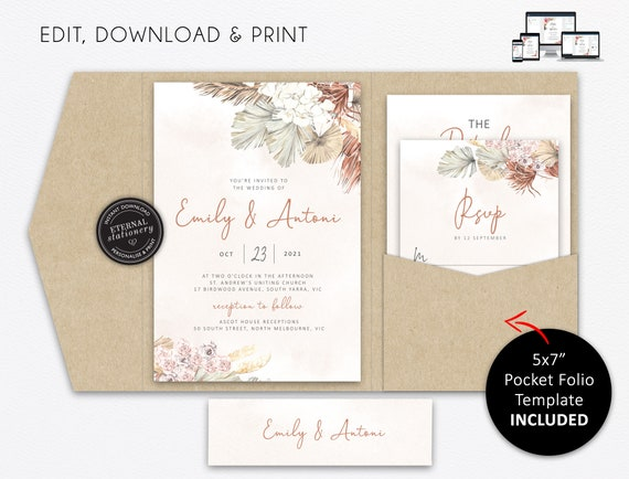 Click to demo! Floral Pampas Grass Boho Wedding Invitation Template Download