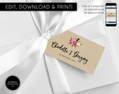 Editable Favour Tag template, bonbonniere tags, wedding favour tag, floral, rustic, printable, gift tags, wedding thank you, Charlotte