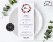 Floral Wreath Menu Template, Rustic, Boho, Watercolour, Editable Menu, Wedding Menu, Birthday, Christening, Baptism, Dinner menu, Charlotte