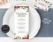 Editable Watercolor Christmas Menu and Place Card Template, Christmas Dinner, Christmas Menu Template, Editable Christmas Place Card, 004