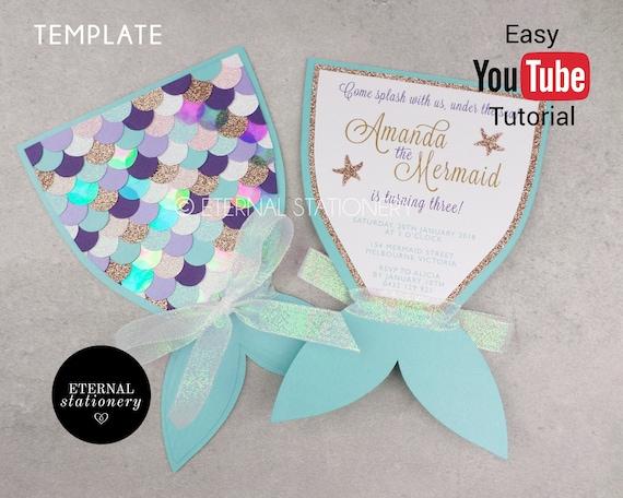Editable Mermaid Tail Invitation MS Word Template print and | Etsy