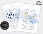 Modern Christening Baptism Invitation Template, Baptism Invitation Boy, Christening Invitation Boy, Editable Invitation, Baby Boy, Rocco