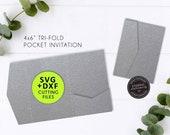 4x6 Pocket Wedding Invitation Template, SVG cutting file, DXF, Pocket Folio, pocket invitations, pocket wedding invitation template