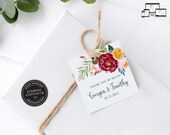 Vibrant Floral Gift Tag template, bonbonniere tags, wedding favour tag template, printable gift tags, bridal shower, thank you, Georgia