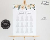 Floral Wedding Seating Chart Template with Eucalyptus, editable seating chart, roses, Printable Seating Sign, guest seating chart, Gabriella
