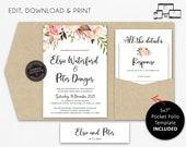 Pocket Wedding Invitation Suite, Floral, Boho, Nude, Wedding Invitation template, Printable, Editable, DIY, pocketfold, pocket folio, Elsie