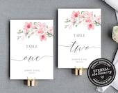 Table Number Template, Cherry Blossom Table Number, Wedding Table Numbers Template, Calligraphic table number wedding, Sakura, Harriet