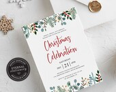 Editable Christmas Party Invitation Template, Christmas Invitation Printable, Editable Invitation, Instant Download, Holiday Invitation, 008