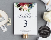 Table Number Template, Navy and Burgundy Floral Table Number, Table Number wedding, Calligraphic, Wedding Table Numbers Template, Elizabeth