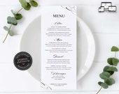 Elegant Calligraphy Menu Template, Minimalist, Editable Menu, modern menu, lettering, Wedding Menu, Birthday, Christening, Baptism, Rebecca