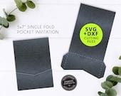 5x7 Single Pocket Invitation Template, SVG cutting file, DXF, Invitation template, laser cut wedding invitation, card, Cameo, Cricut